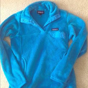 Blue Patagonia button up fleece